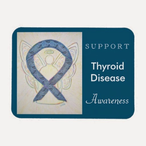 Support Thyroid Disease Blue Paisley Awareness Ribbon Angel Rectangle Gifts Magnet