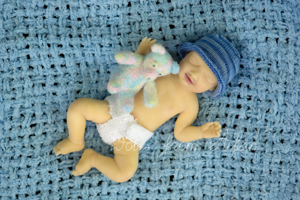 OOAK Hand Sculpted Mini Sleeping Baby Boy Doll