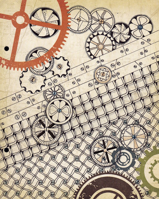 steampunk tangle art by Alice hendon on scrapbook paper