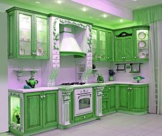 Cocina de color verde