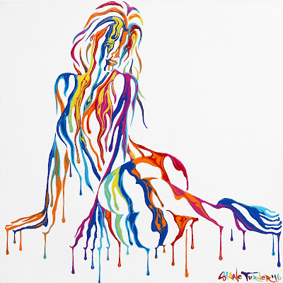 Photo of Psychameleon Just Chillin' 2.0 by Shane Turner. Surreal painting of woman sitting on her side made of negative space and dripping colorful paint. Pop art woman.