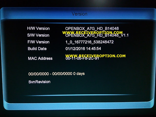 OPENBOX A7G HD RECEIVER AUTO ROLL POWERVU KEY SOFTWARE