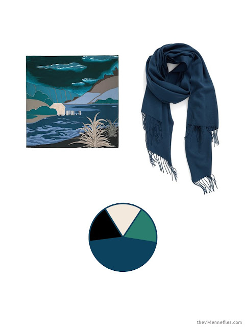 two scarves in teal and jade, with khaki and black, with their color palette