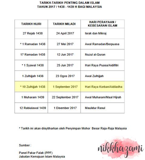 Tarikh Hari Raya Haji 2017 Malaysia