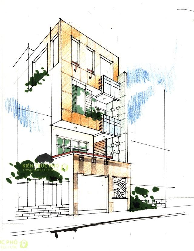 Thiết kế sơ phác nhà phố 6x13 mét