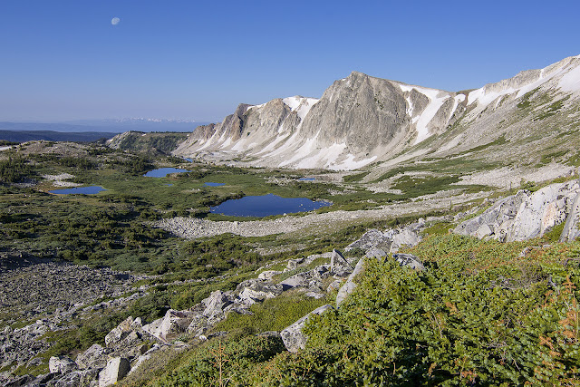view of the Medicine Bow ridges and Lookout Lake in the Snowy Range, Wyoming