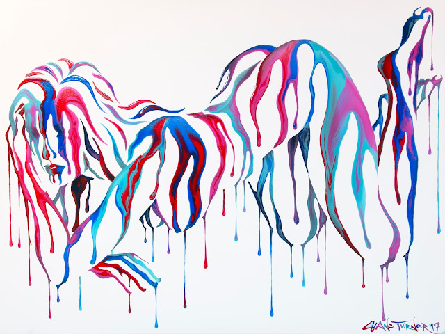 Surreal Painting of a woman made of dripping colorful paint. Negative space helps reveal the image of a woman leaning forward on her elbow.