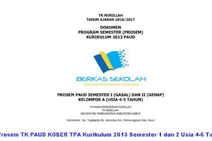 Prosem TK PAUD KOBER TPA Kurikulum 2013 Semester 1 dan 2 Usia 4-5 Tahun