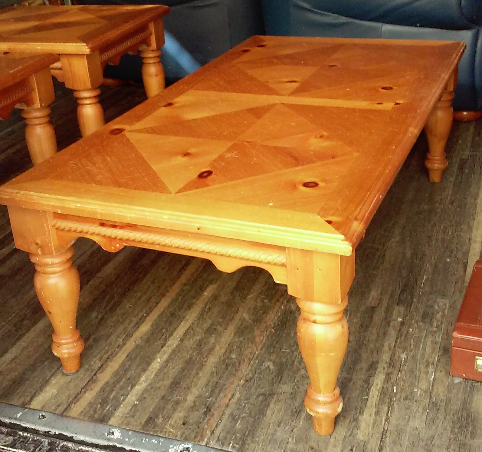 Uhuru Furniture Collectibles Sold Bargain Buy 3167 4 1 2 39 Long Knotty Pine Coffee Table