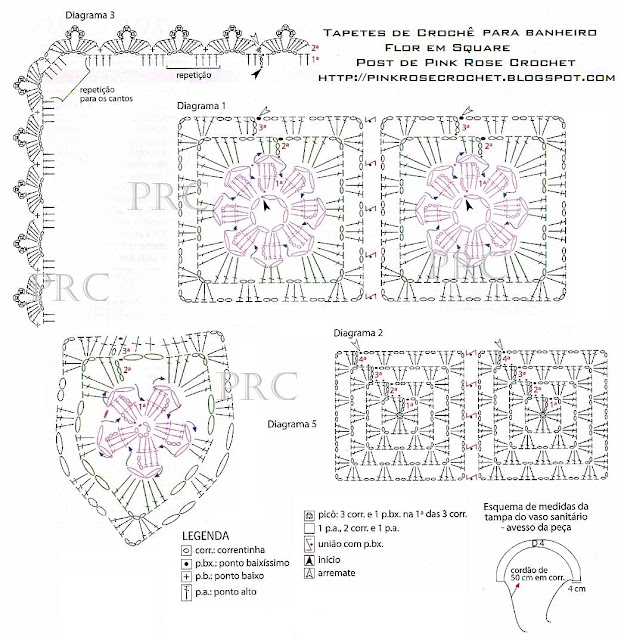 Jogos de Tapetes de Croche Para Decorar Banheiro Com Receitas e Gráficos 8
