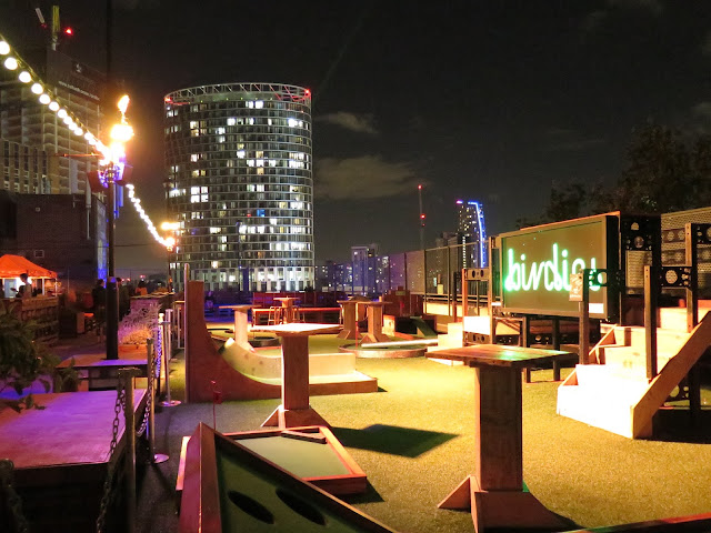 birdies crazy golf, roof east, London, roof top golf