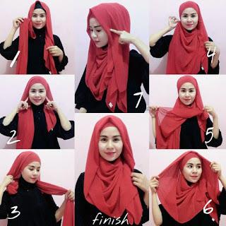 Cara Unik Memakai Hijab Pashmina Kaos Polos Modern