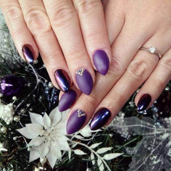 purple ,Reindeer Nail Art