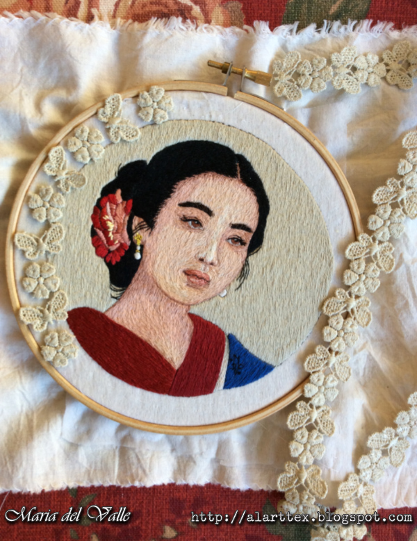 Embroidered portrait of a young Chinese girl