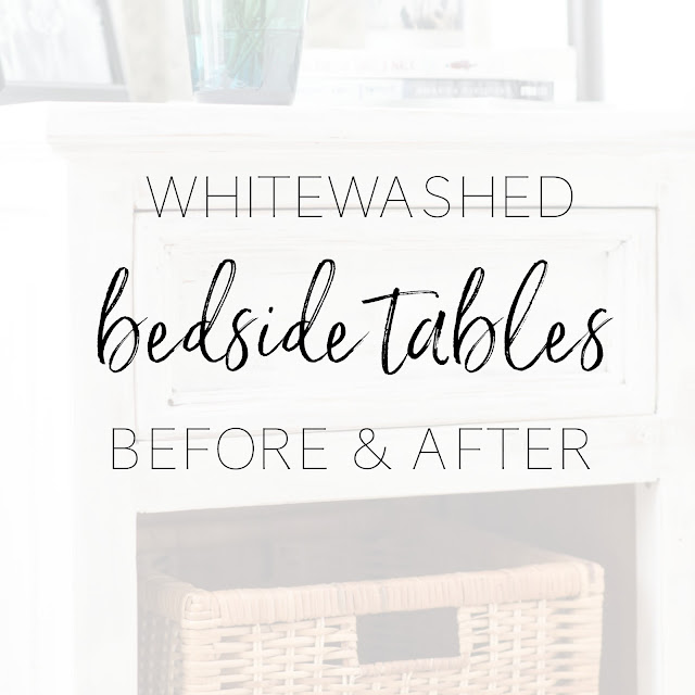 How to whitewash dated pine bedside tables with white chalk paint for a fresh farmhouse look. Includes before and after photos | personallyandrea.com