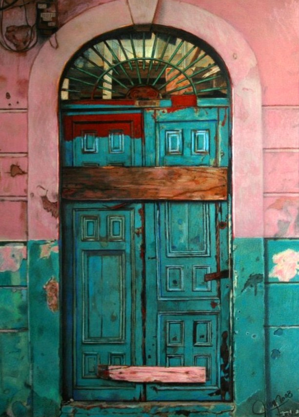 Cuadros pinturas oleos pintura realista de puertas antiguas for Colores para pintar portones