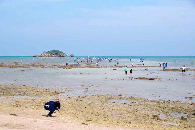beach, Henza, island, ocean, low tide, rocks, procession, festival, Sanguacha