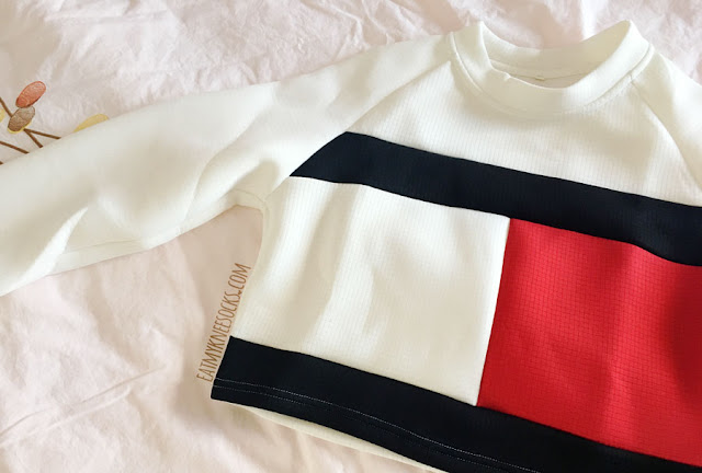 Tommy Hilfiger-inspired colorblocked logo print cropped long sleeve sweatshirt from SheIn.