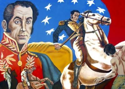 Mural de Simón Bolivar a caballo para niños
