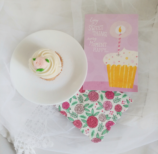 birthday cupcake and dollar store card
