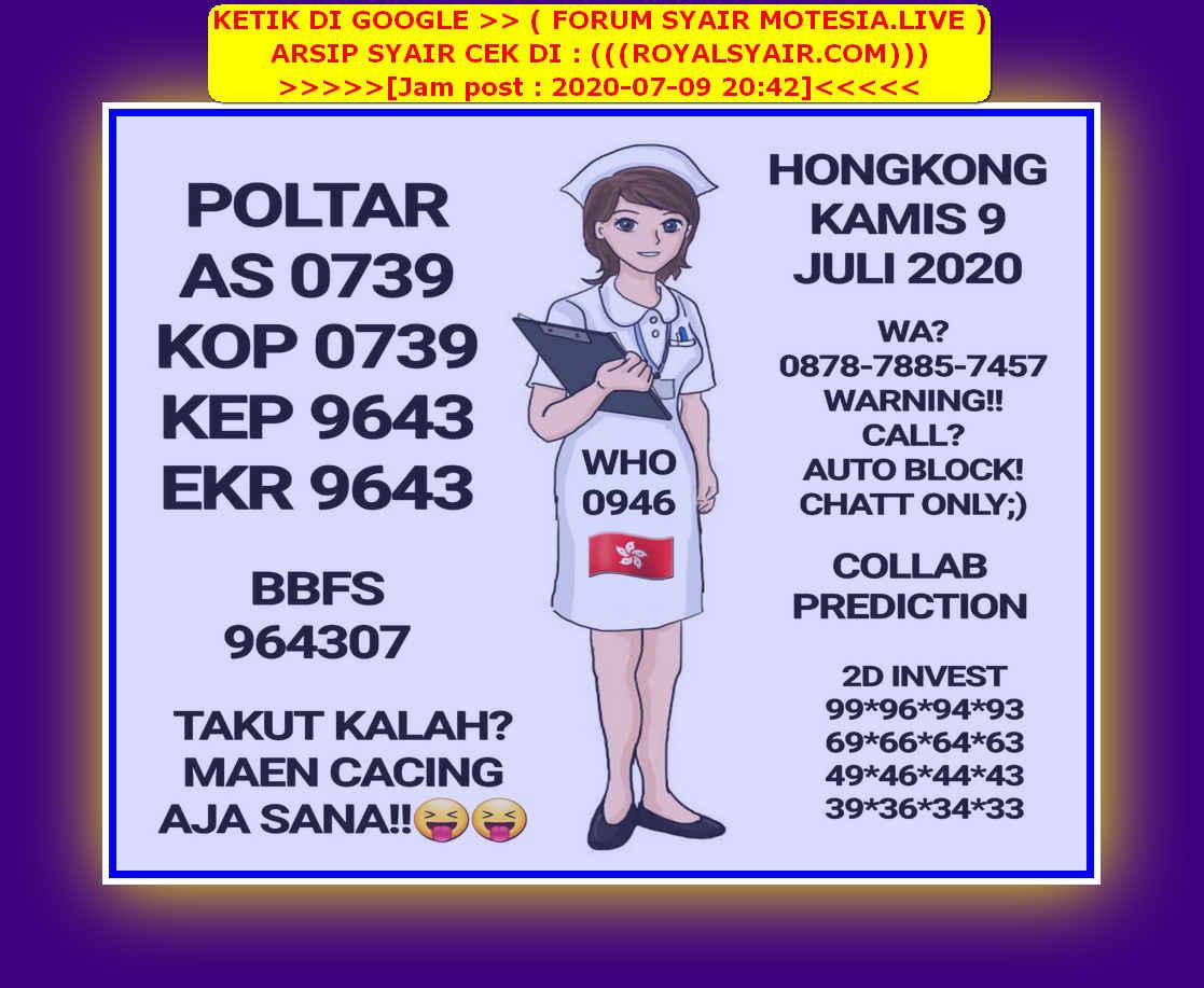 Kode syair Hongkong Kamis 9 Juli 2020 18