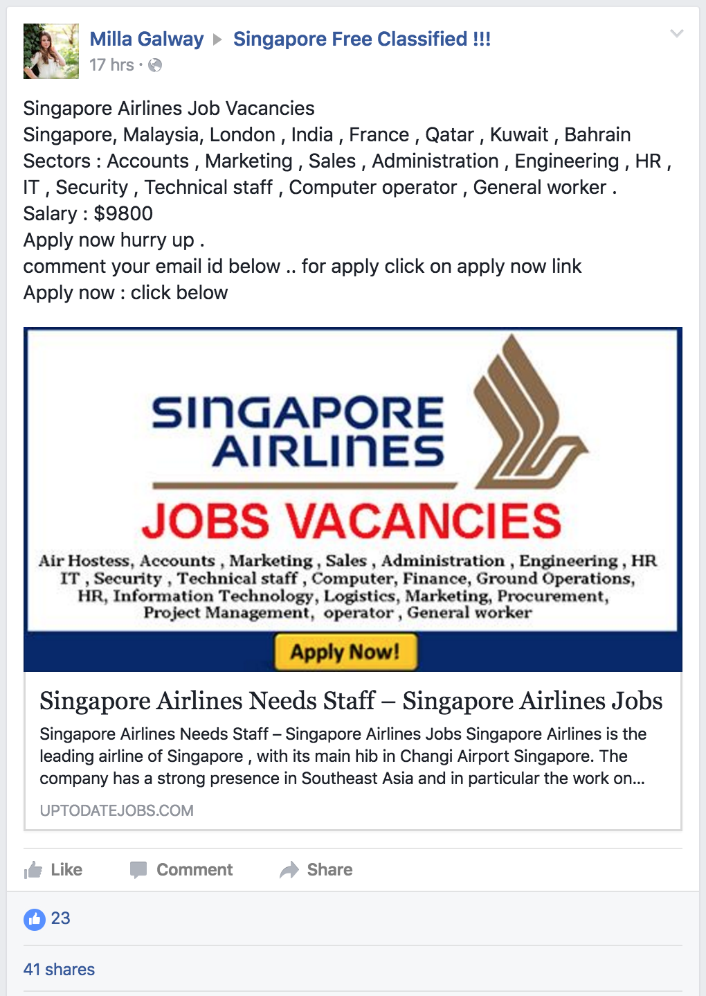 Job Ads by Singapore Airlines?