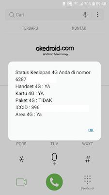 Mengakses *123*817# untuk dukungan status kesiapan 4G