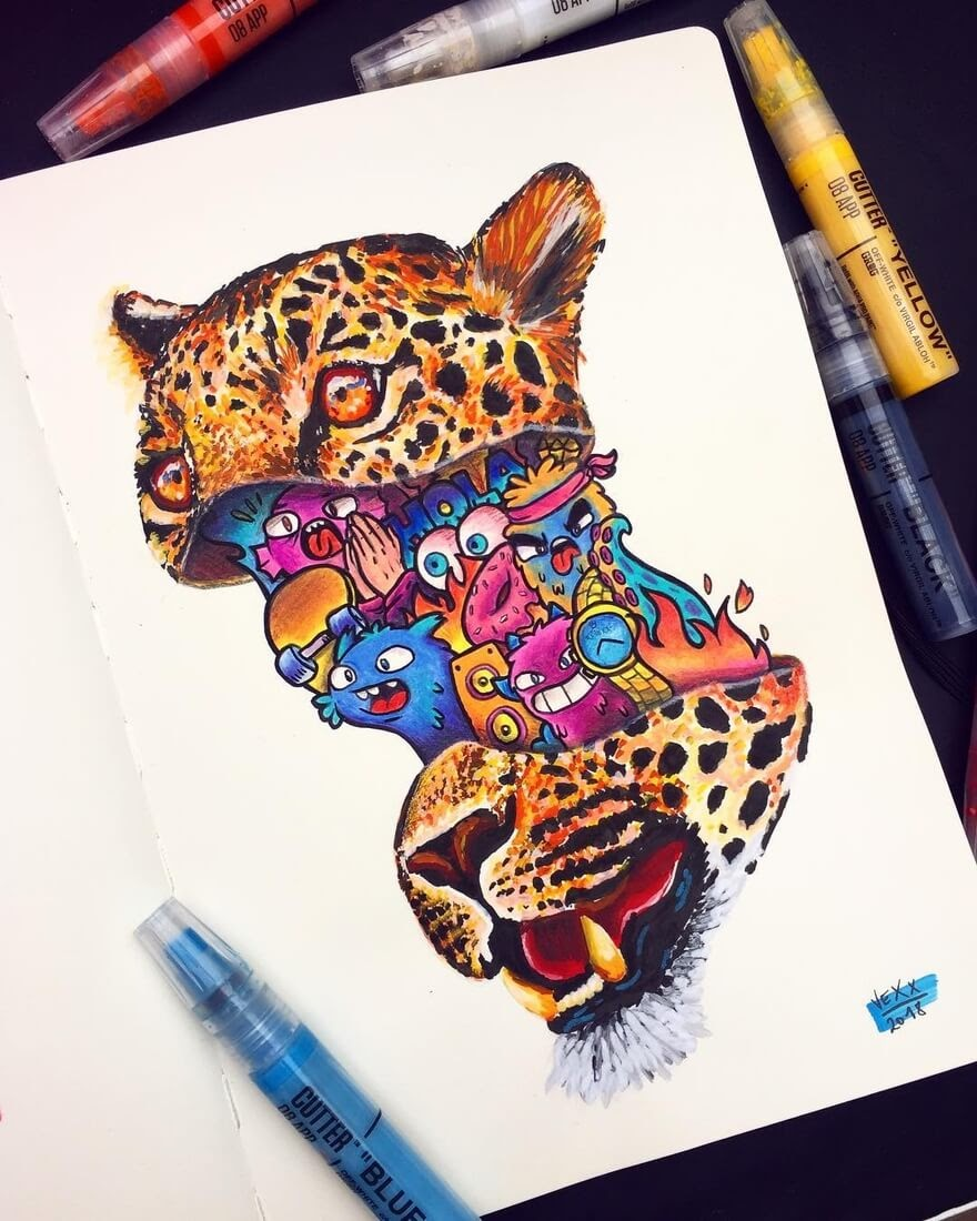 07-Leopard-Vince-Okerman-aka-Vexx-11-Doodle-Drawings-and-1-Painting-www-designstack-co