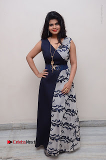 Telugu Actress Alekhya Stills in Blue Long Dress at Plus One ( 1) Audio Launch  0146.jpg