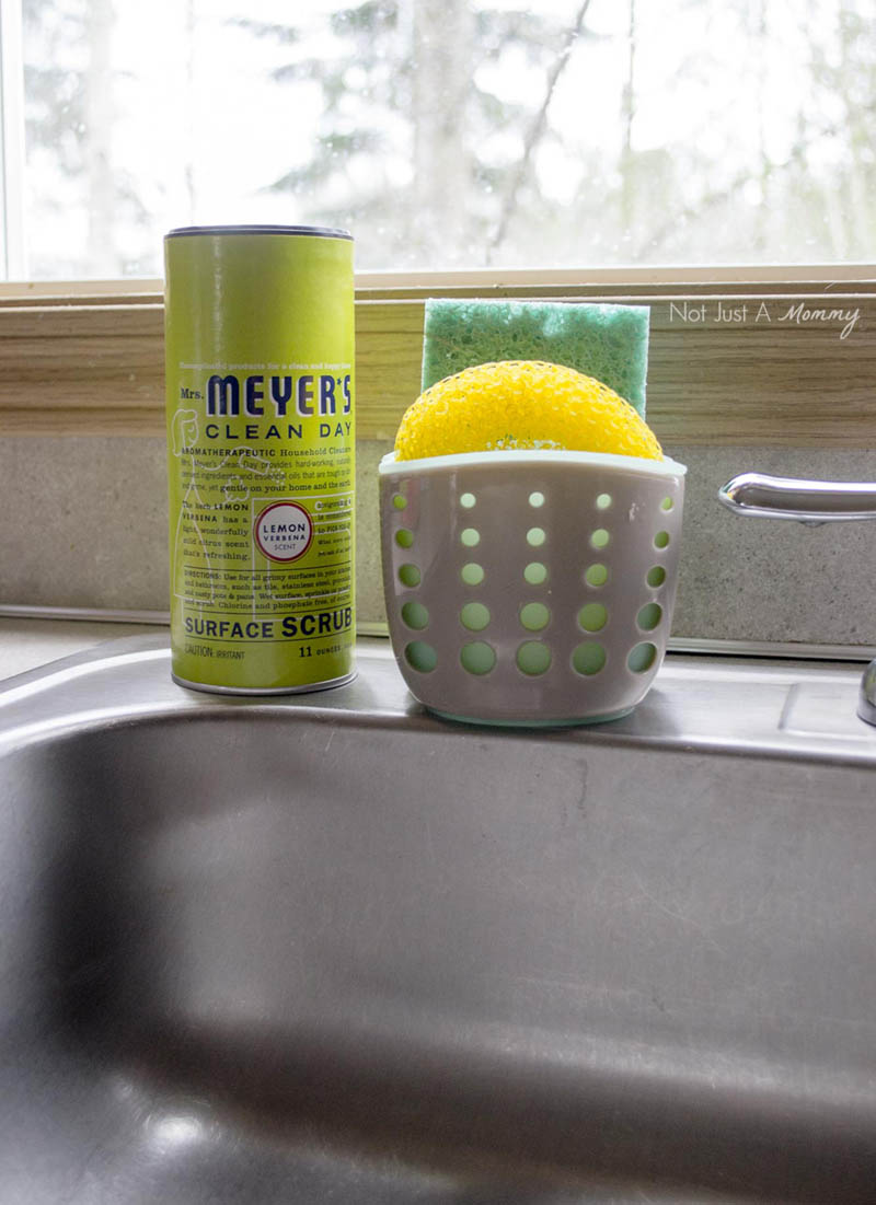 5 Tips To Prepping Your Home For Spring Entertaining; use Mrs. Meyers scrub for stainless steel surfaces