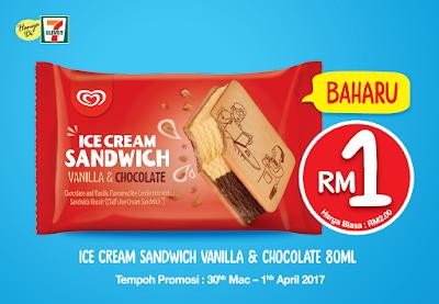 7 Eleven Wall's Ice Cream Sandwich Vanilla & Chocolate RM1 Discount Promo