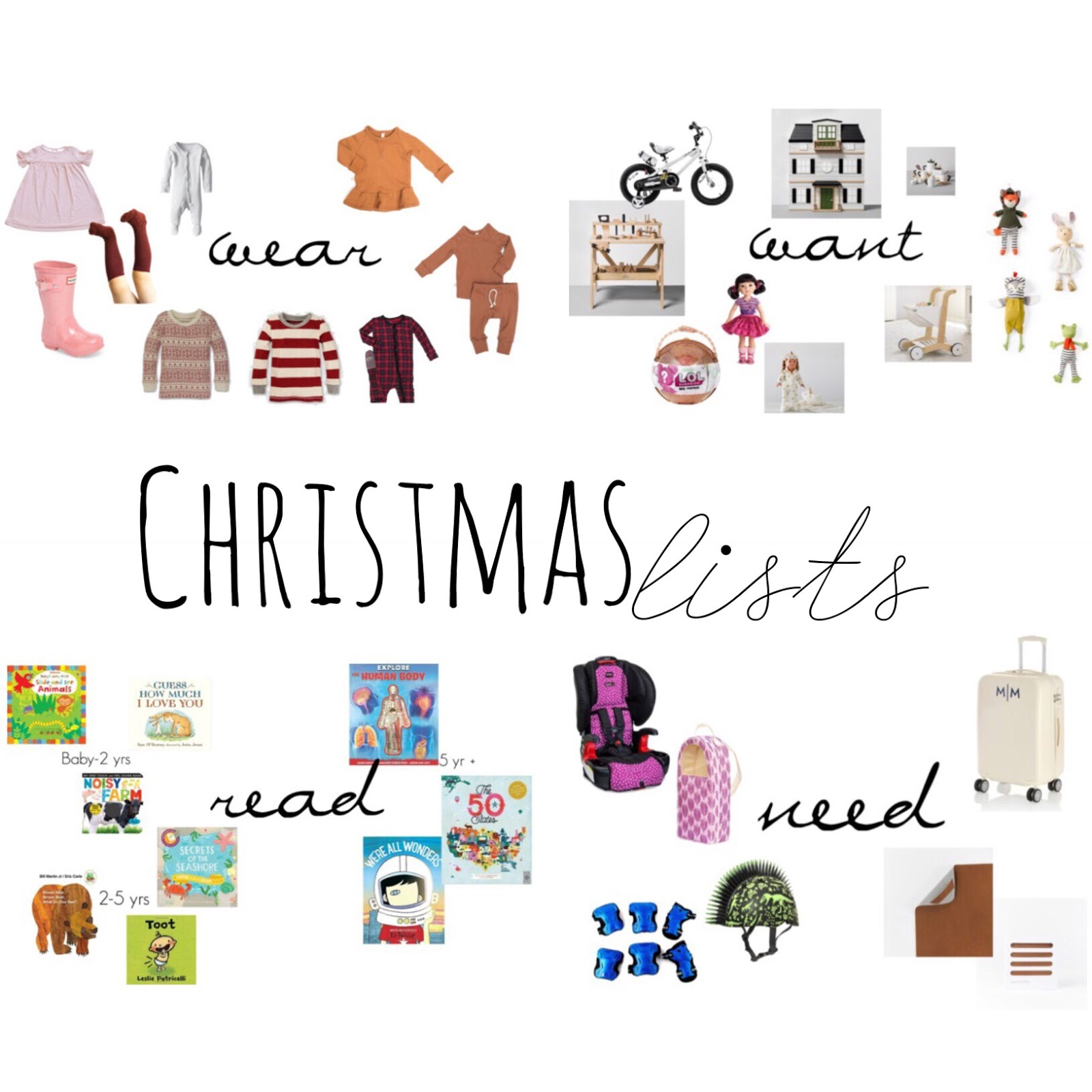 graciously saved: Want, Wear, Need, Read-Christmas gifts