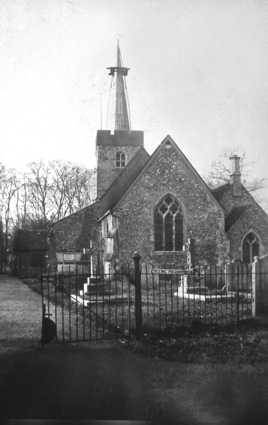 Photograph of St Mary's church with the spire being removed Image from the NMLHS