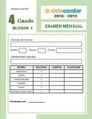 Examen del Bloque I Cuarto grado  2018-2019
