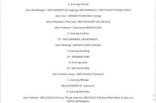 Daftar Contac Person Basecamp Gunung di Inodesesia di Tiap Jalurnya