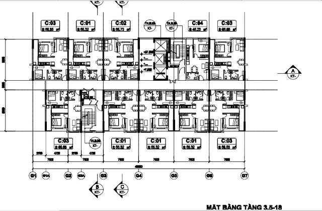 Mặt bằng tầng 3,5-18 tòa T3 chung cư b1.3 Thanh Hà