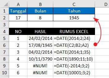 Contoh Fungsi-Rumus DATE Excel