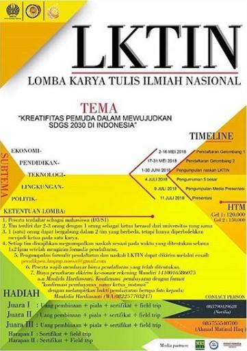 Lomba Karya Tulis Ilmiah Nasional (LKTIN) Mahasiswa 2018 UNESA