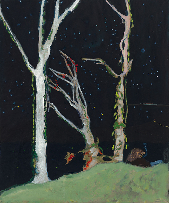 Peter Doig  Figures at Night, 2017 Oil on stretched kraft paper 73.5 x 61.5 cm