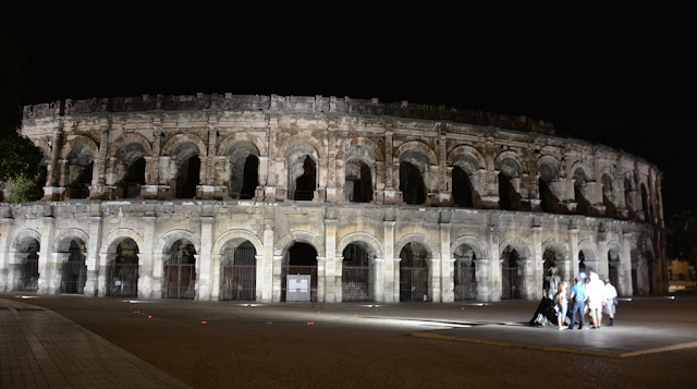 Nimes Arena by night