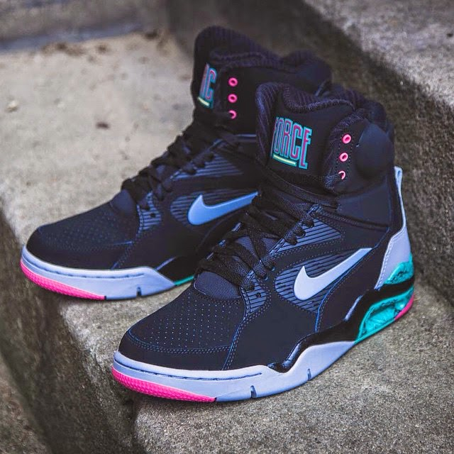Nike Air Command Force in Black - Wolf Grey - Hyper Jade - Hyper Pink