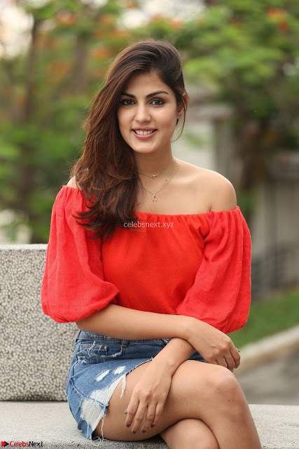 Rhea Chakraborty in Red Crop Top and Denim Shorts Spicy Pics ~  Exclusive 004.JPG