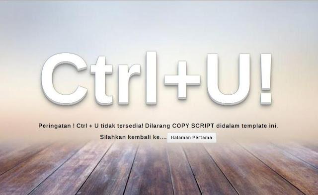 Cara Memasang Script Anti Ctrl + U Dengan Halaman Peringatan