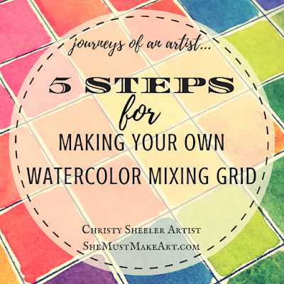 Painted watercolor squares with title, 5 Steps for Making Your Own Watercolor Mixing Grid