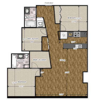 Floor plan for our three bed, two bath Chicago loft condo, without furnishings