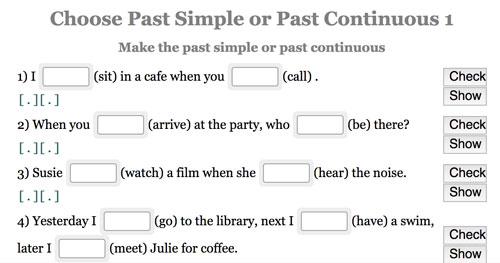 Actividad online para practicar el uso del past simple y past continuous