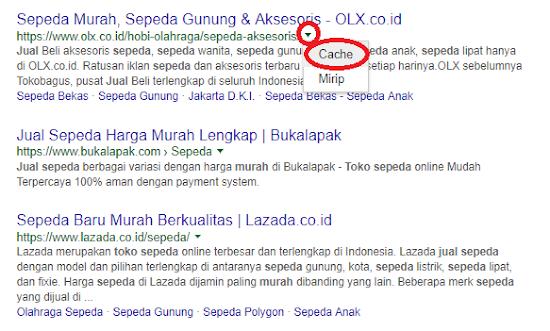 cek cache pada pencarian Google