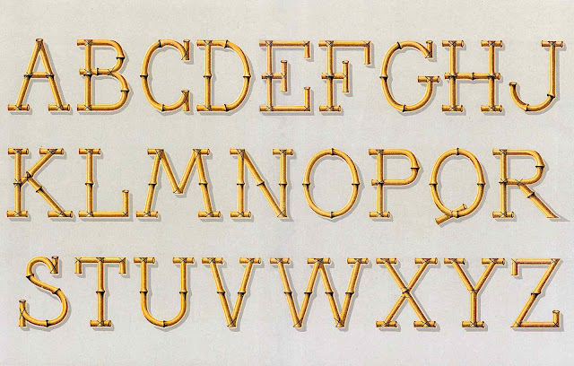 an 1885 bamboo alphabet