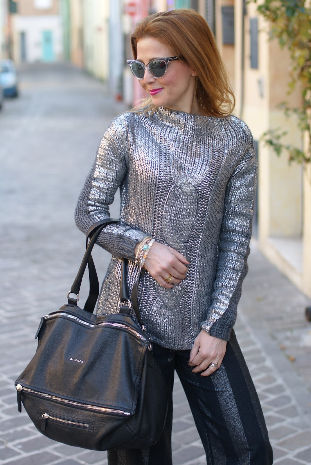 metallic silver sweater on Fashion and Cookies fashion blog, fashion blogger style