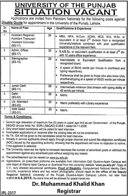 University Of The Punjab PU jobs 2019 | PU Latest Advertisement